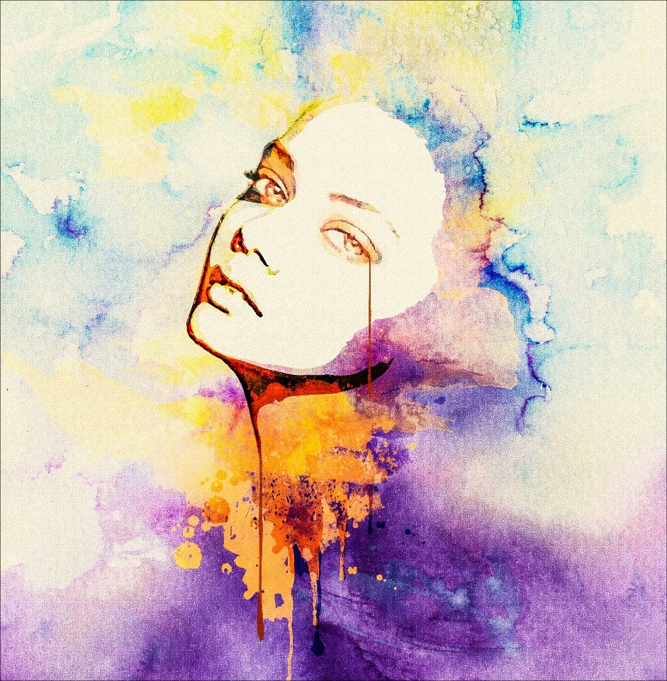 Women Faces, Watercolor Painting